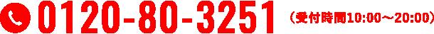 0120-80-3251 受付時間 10:00~20:00